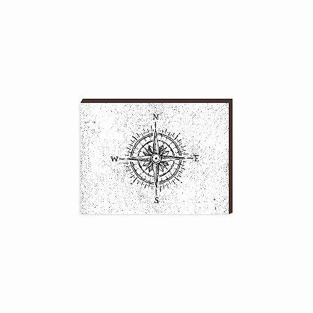 Quadro Rosa dos Ventos Preto e Branco [Box de Madeira]