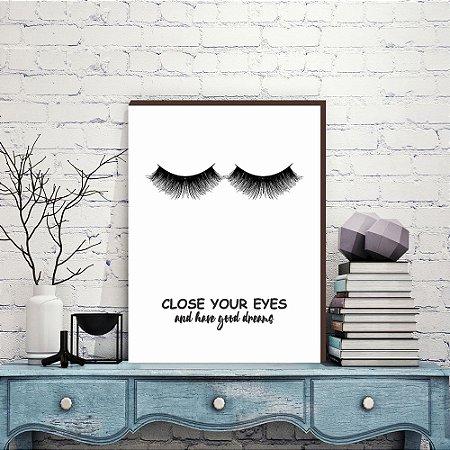 Quadro Close Your Eyes [BOX DE MADEIRA]
