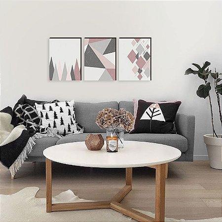 Quadros Trio Geométrico Abstrato Escandinavo [Box de madeira]