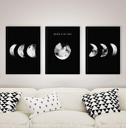 Trio de quadros Fases da lua Fundo Preto [Moldura e Vidro]