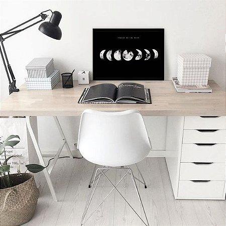 Quadro Fases da Lua Fundo Preto[moldura e Vidro]