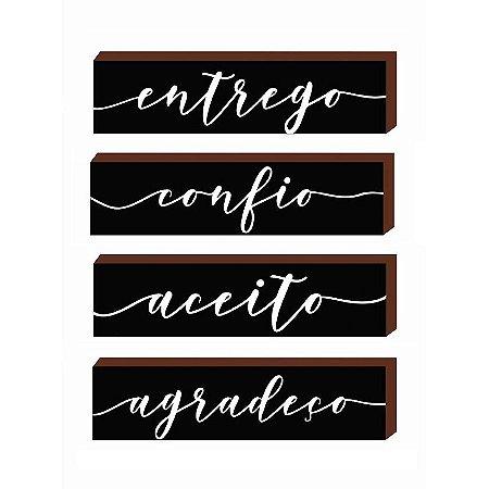 Quarteto caixinhas Entrego, Confio, aceito e agradeço Preto