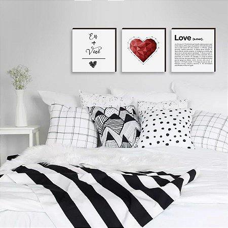 Trio de Quadros Decorativos Eu+Você+Amor [box de madeira]