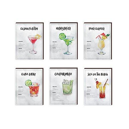 Kit de Quadros decorativos Receitas de Drinks  [box de madeira]