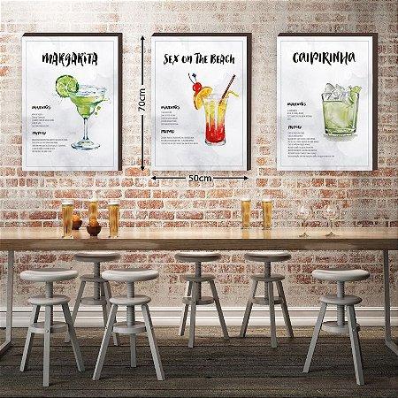 Trio de Quadros decorativos Receitas de Drinks GRANDES  [box de madeira]