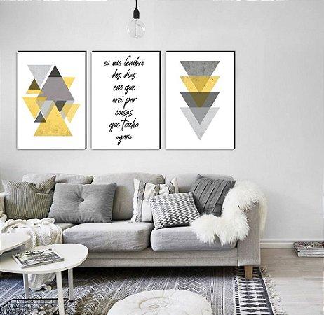 Trio Geométrico Triângulos Eu me lembro dos dias em que orei por coisas que tenho agora AMARELO [Box de Madeira]