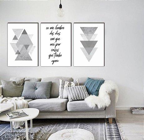 Trio Geométrico Triângulos Eu me lembro dos dias em que orei por coisas que tenho agora CINZA [Box de Madeira]