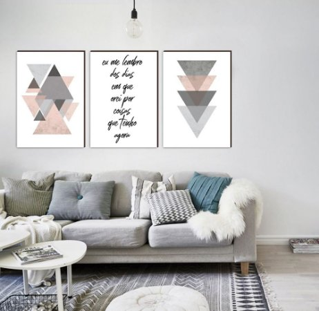 Trio Geométrico Triângulos Eu me lembro dos dias em que orei por coisas que tenho agora ROSA [Box de Madeira]