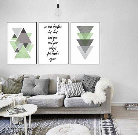 Trio Geométrico Triângulos Eu me lembro dos dias em que orei por coisas que tenho agora VERDE [Box de Madeira]