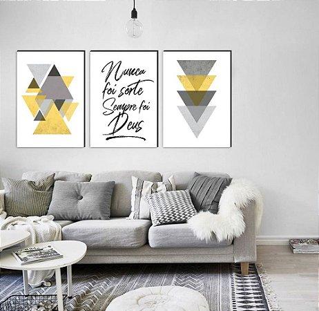 Trio Geométrico Triângulos Nunca foi sorte sempre foi Deus AMARELO [Box de Madeira]