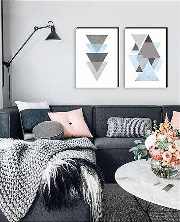 Dupla de quadros Geométricos Triângulos cinza com azul claro[boxdemadeira]