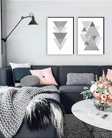 Dupla de quadros Geométricos Triângulos cinza [boxdemadeira]