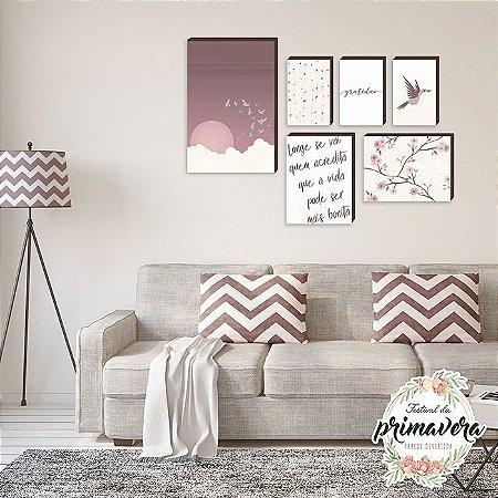 Kit de quadros decorativos Pássaro [Box de Madeira]