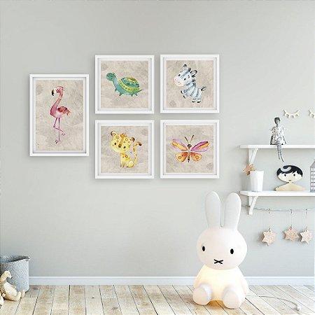 Kit Quadros Decorativos Animais Flamingo e amigos [moldura e vidro]