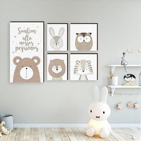 Quadros infantil Conjunto de Quadros Decorativos Bichos Sonhe alto [BoxMadeira]