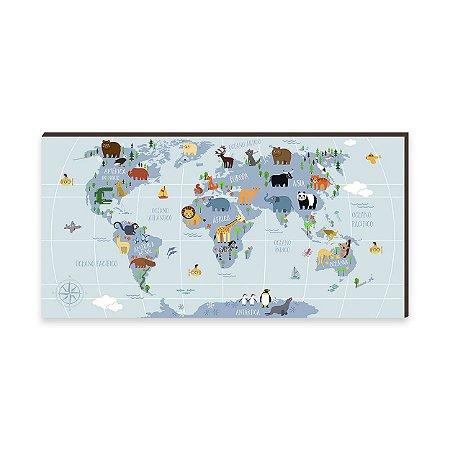 Quadro Decorativo infantil Mapa Mundi Divertido Azul [BoxMadeira]