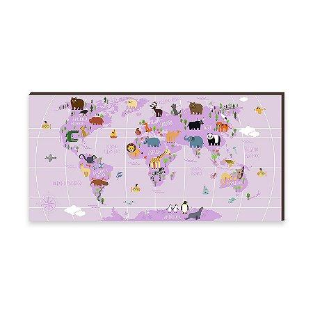 Quadro Decorativo Mapa Mundi Divertido Rosa [BoxMadeira]