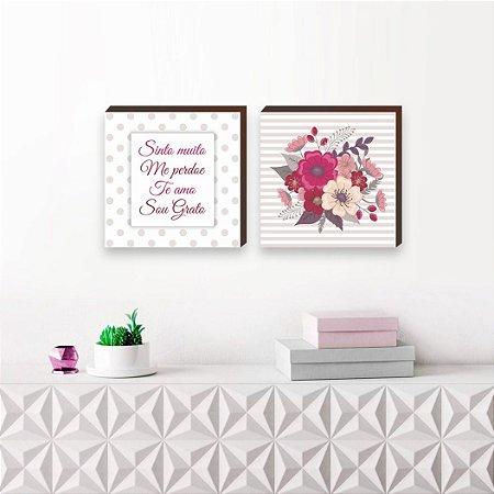Dupla de quadros decorativos Mantra do perdão Ho Oponopono [BOX DE MADEIRA]