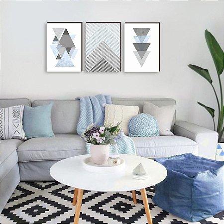 Trio de quadros Geométrico Triângulos Azul [BOX DE MADEIRA]