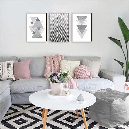 Trio de quadros Geométrico tons de cinza [BOX DE MADEIRA]