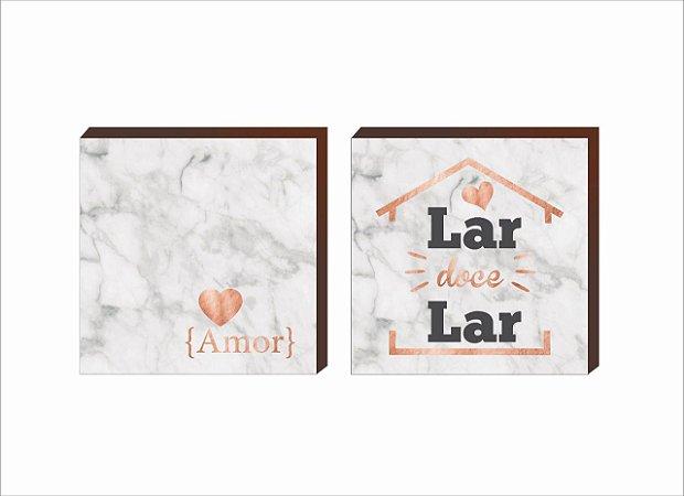 Dupla de quadros amor+lar marmorizado rosê gold [Box de madeira]