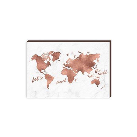 Quadro mapa Rosê Gold Marmorizado [BOX DE MADEIRA]