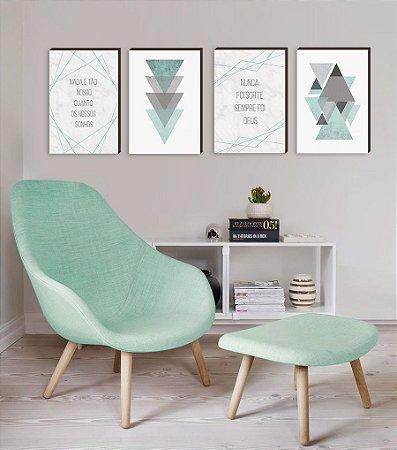 Quarteto Frases e Geométricos Triângulos Verde Tiffany [BOX DE MADEIRA]