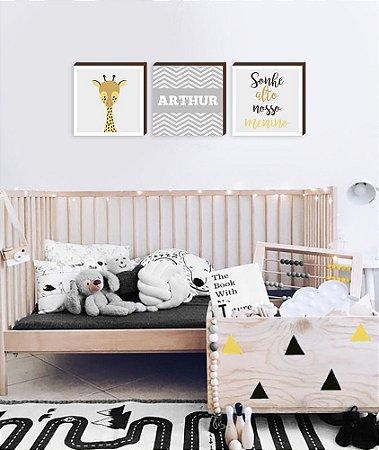 Trio de Quadros infantil Girafa + Nome + Sonhe Alto[BoxMadeira]