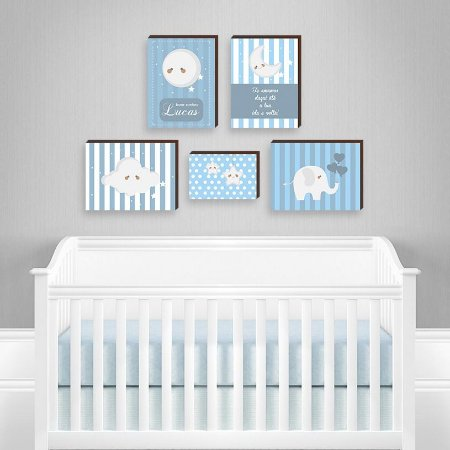 Quadros infantil Conjunto de Quadros Céu Fundo Azul [BoxMadeira]
