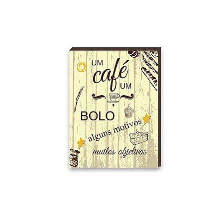 Quadro para cozinha Um Café um Bolo Amarelo  [BoxMadeira]