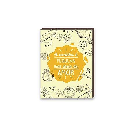 Quadro A cozinha é pequena mas cheia de amor Amarelo  [BoxMadeira]