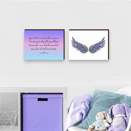 Dupla de quadros Guarda-me Senhor + Asas Roxo, Rosa e Azul [BoxMadeira]