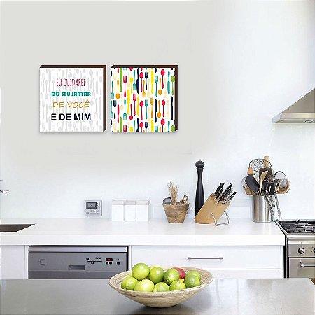 Dupla de quadros de cozinha eu cuidarei do seu jantar [Box de madeira]
