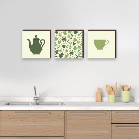 Trio de quadros de cozinha bule e xícara verde - Cantinho do Café [BoxMadeira]