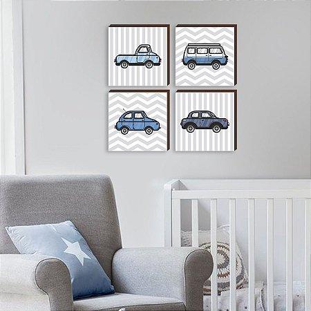 Quarteto de quadros Carros Azuis [BOX DE MADEIRA]
