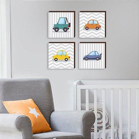 Quarteto de quadros infantil Carros coloridos [BOX DE MADEIRA]