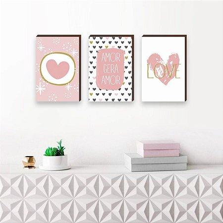 Trio de quadros Amor Gera Amor [BoxMadeira]
