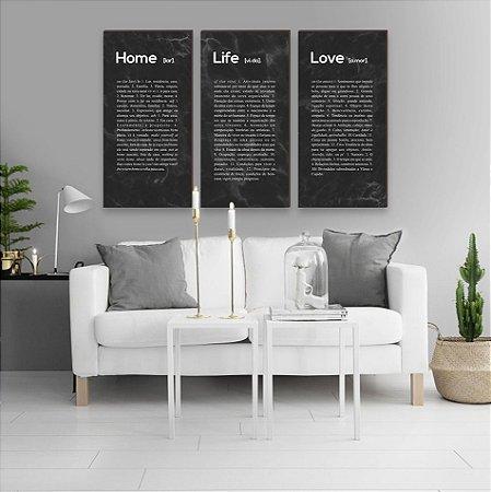 Trio Home + Life + Love Marmorizado Comprido PRETO [BoxMadeira]