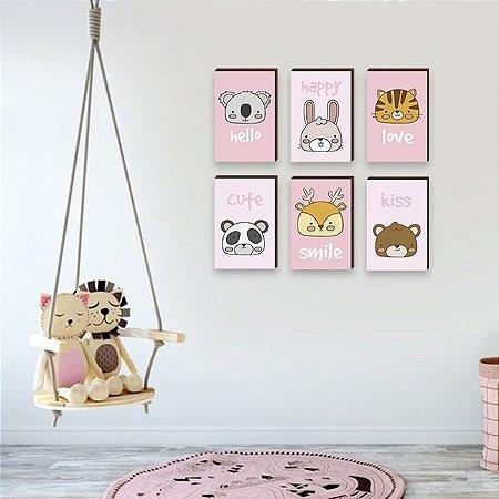 """Kit de Quadros infantil Bichos Cute Rosa [BoxMadeira]"""""""