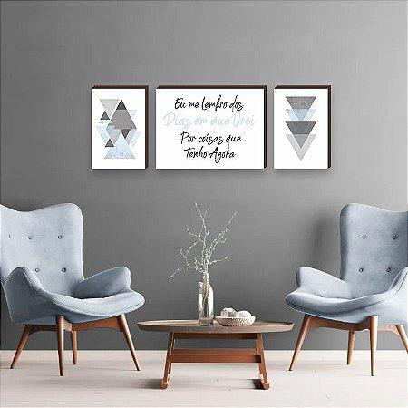 Trio de Quadros Triângulos com frase Eu me Lembro dos Dias em que Orei Por Coisas que Tenho Agora Azul [BoxMadeira]