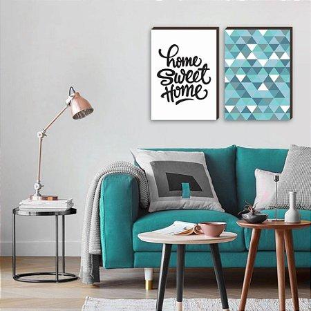 Dupla de Quadros Home Sweet Home + Triângulos [BOX DE MADEIRA]