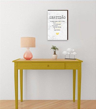 Quadro Decorativo  Gratidão + Frase + Coração Amarelo Fundo Marmorizado Branco [BoxMadeira]