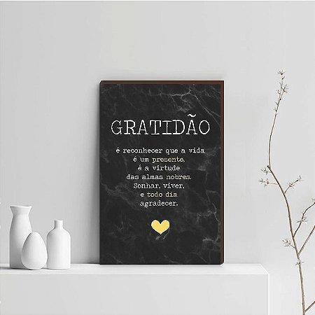 Quadro Decorativo  Gratidão + Frase + Coração Amarelo Fundo Marmorizado Preto [BoxMadeira]