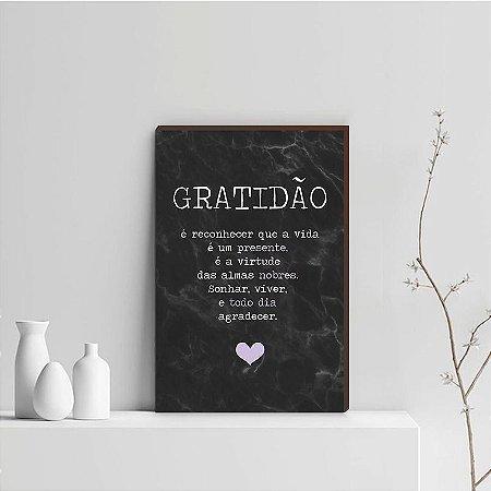 Quadro Decorativo  Gratidão + Frase + Coração Lilás Fundo Marmorizado Preto [BoxMadeira]