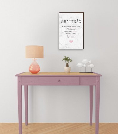 Quadro Decorativo  Gratidão + Frase + Coração Rosa Fundo Mármore Branco [BoxMadeira]