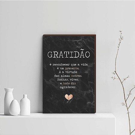 Quadro Decorativo  Gratidão + Frase + Coração Rose Gold Fundo Marmorizado Preto [BoxMadeira]