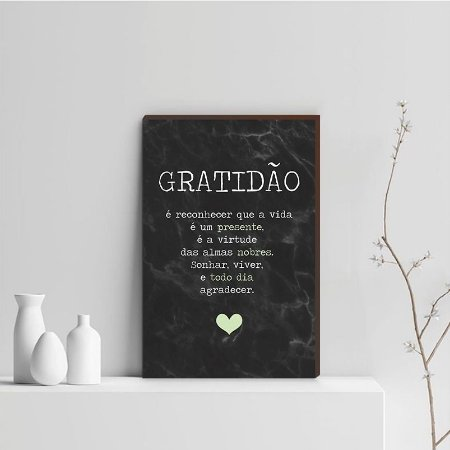 Quadro Decorativo  Gratidão + Frase + Coração Verde Fundo Mármore Preto [BoxMadeira]