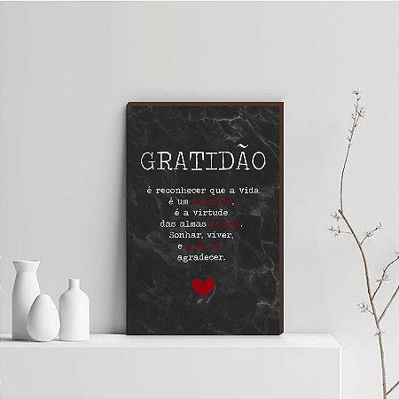 Quadro Decorativo  Gratidão + Frase + Coração Vermelho Fundo Marmorizado Preto [BoxMadeira]