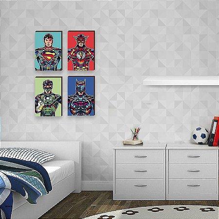Quarteto de Quadros Super Heróis DC Comics Pop Art - Superman, Flash, Lanterna Verde, Batman [BoxMadeira]