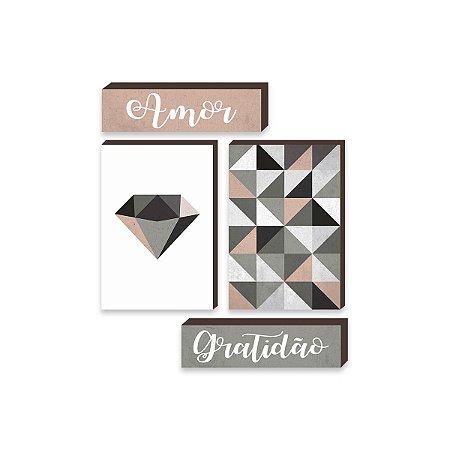 Kit de Quadros Diamante + Amor + Gratidão [BoxMadeira]